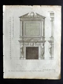 Langley 1777 Antique Architectural Print. Fireplace Cornice 92.